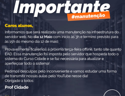 Estaremos offline no dia 12/05